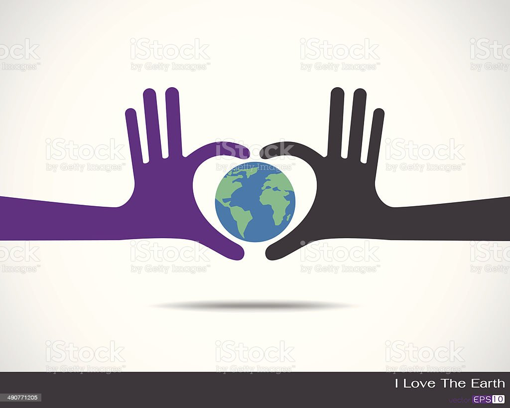 The earth inside heart made up of human hands vector art illustration