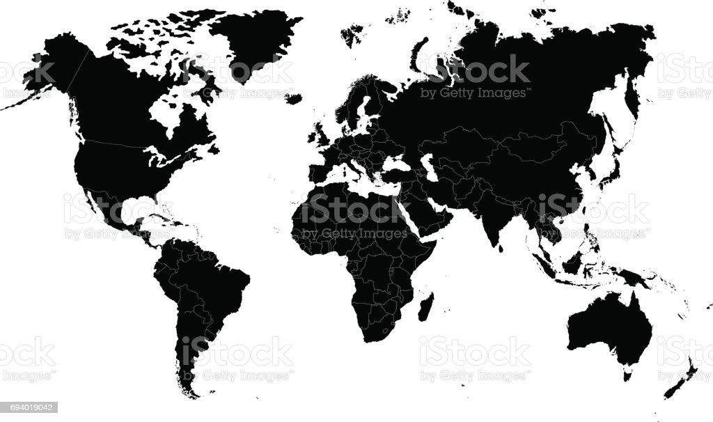 The Earth, World Map on white background. Antarctica. Vector illustration vector art illustration