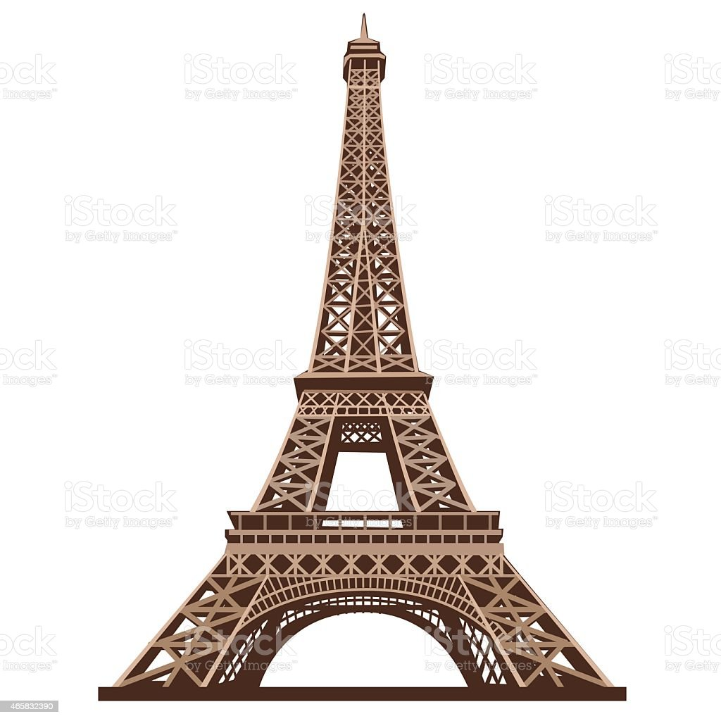 The Eiffel Tower shot from below against a white background vector art illustration