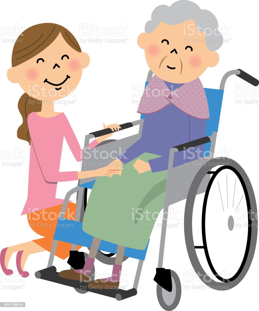 The elderly to sit in a wheelchair, nursing care vector art illustration