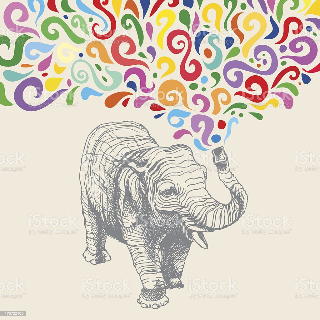 the elephant with colorful abstract fountain hand drawn vector