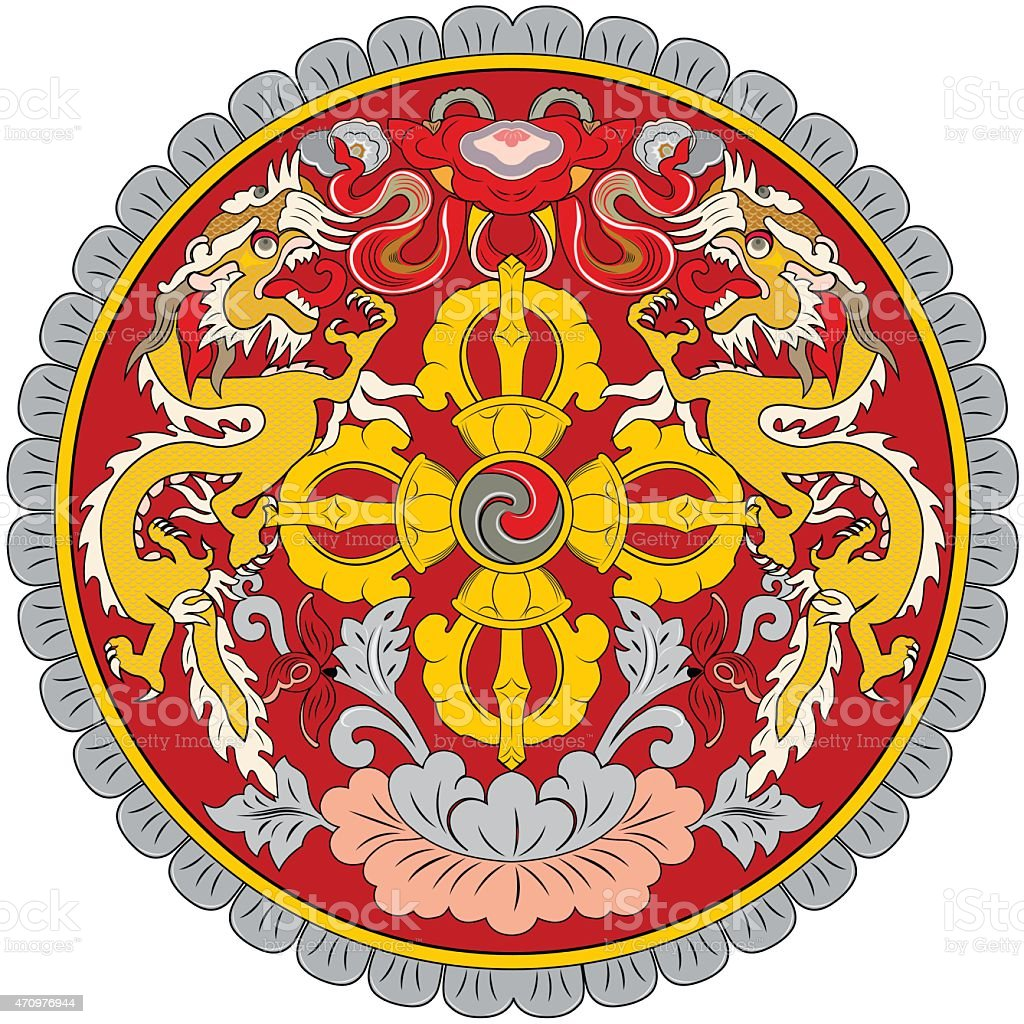 The emblem of Bhutan vector art illustration