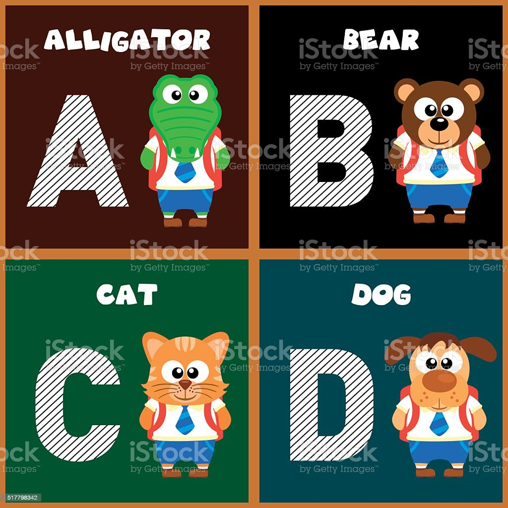 The English alphabet letter A ,B,C,D vector art illustration