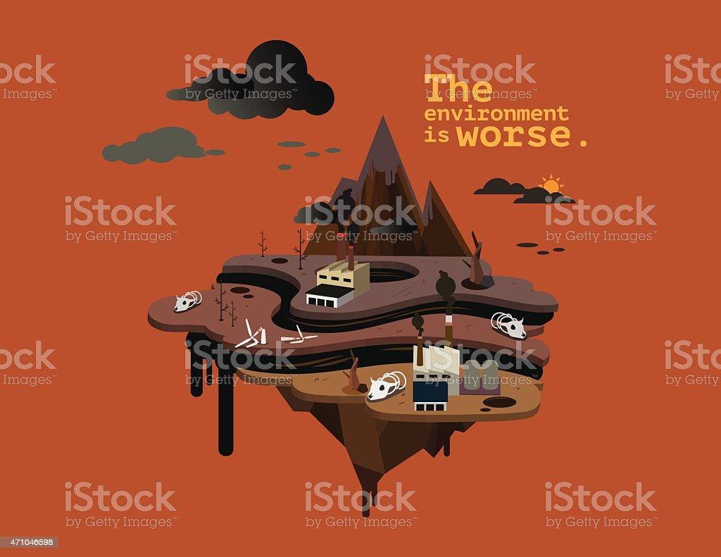 The environment is worse. vector art illustration