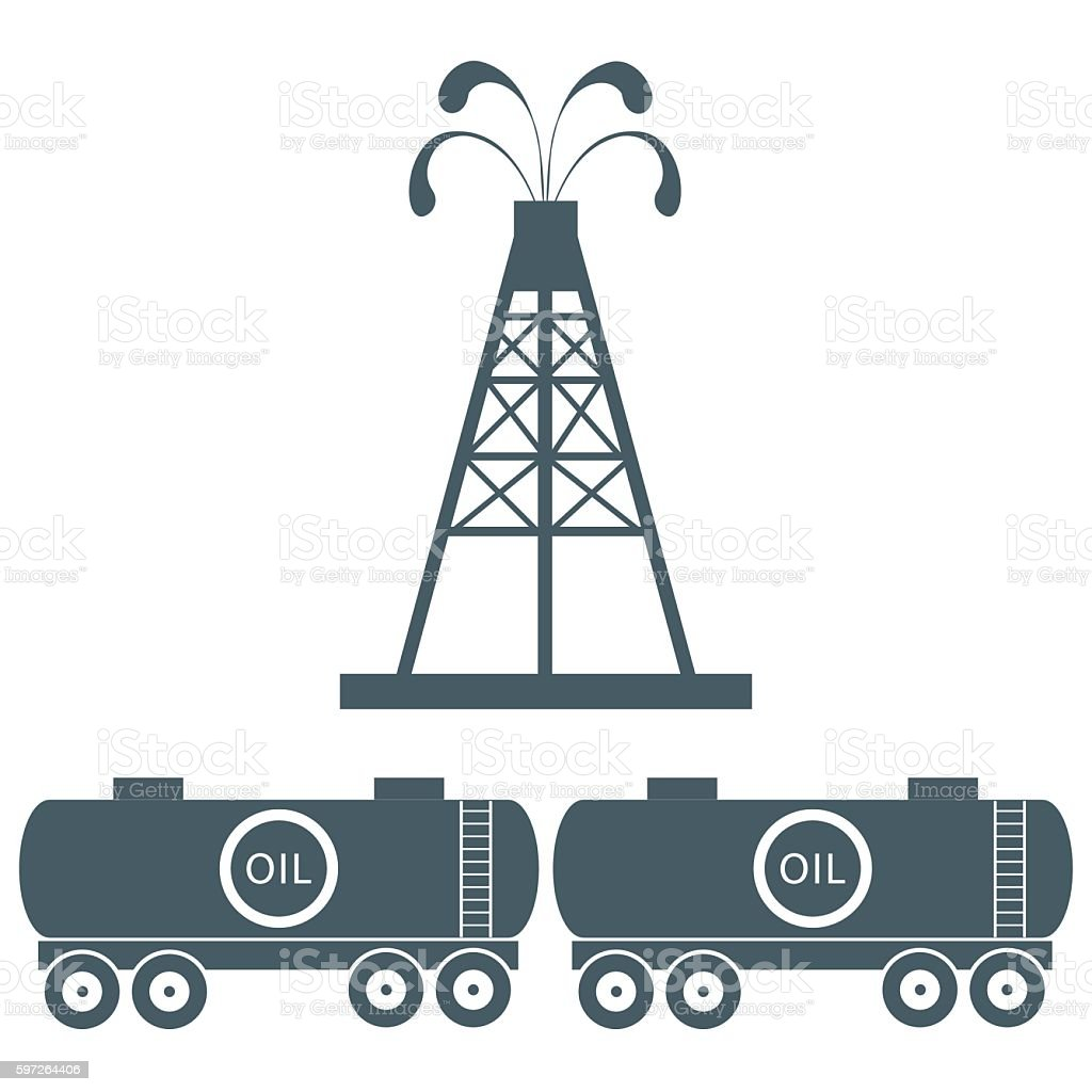 the equipment for oil production and tanks with vector art illustration