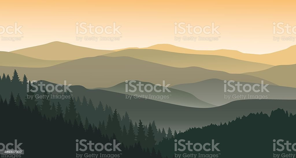The evening at foggy mountains vector art illustration