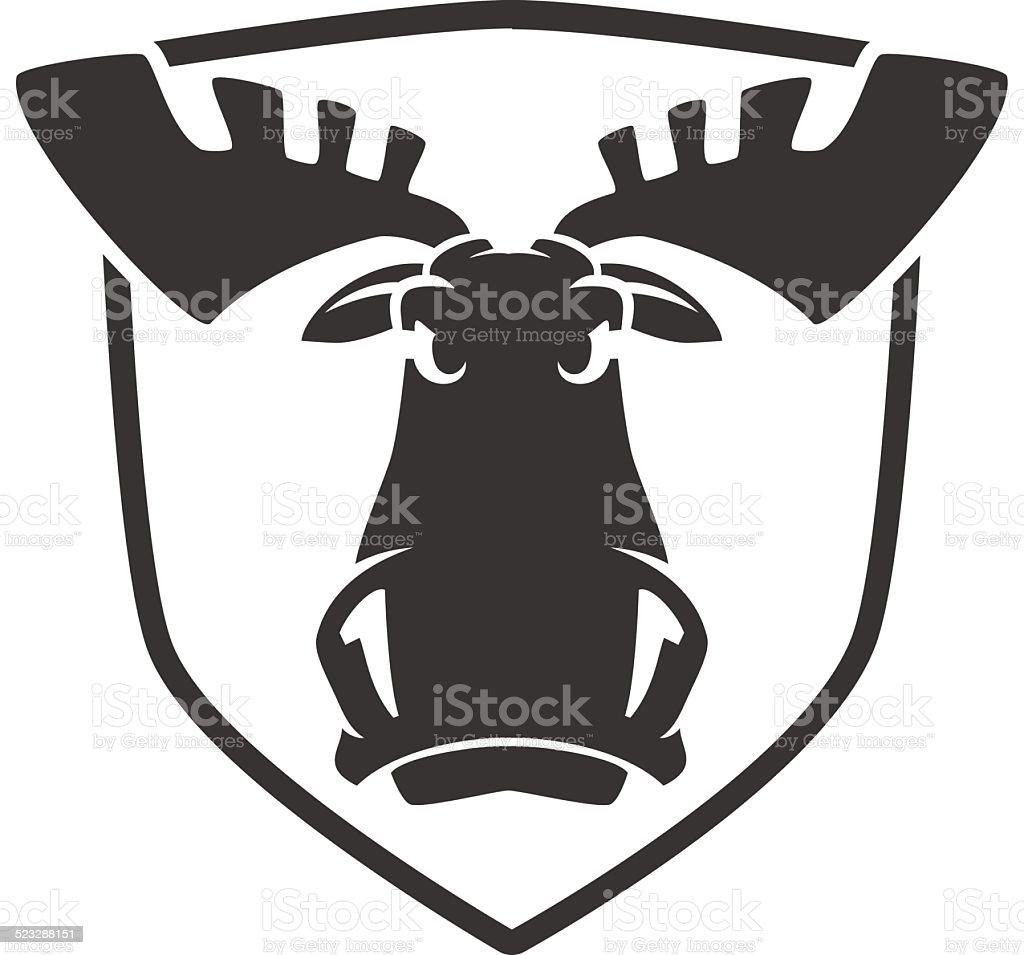 O mal logotipo vetor emblema de cabeça de um alce vetor e ilustração royalty-free royalty-free