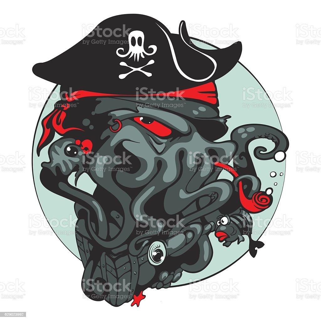 The evil Pirate octopus. Vector illustration vector art illustration