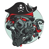 The evil Pirate octopus. Vector illustration