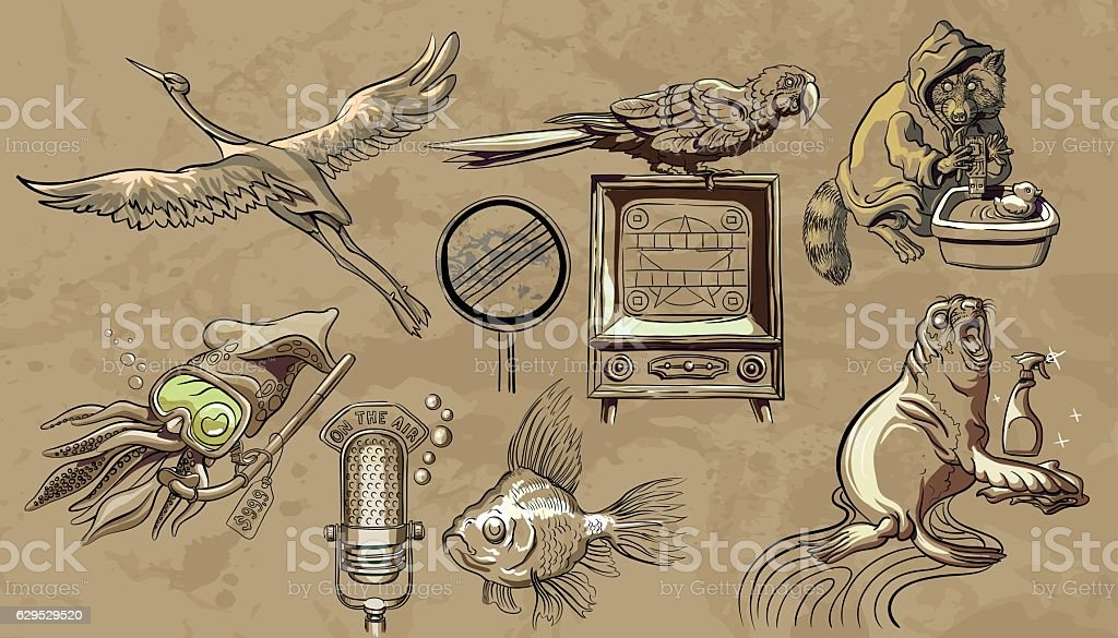 The fable about evolution - animals pretend people vector art illustration