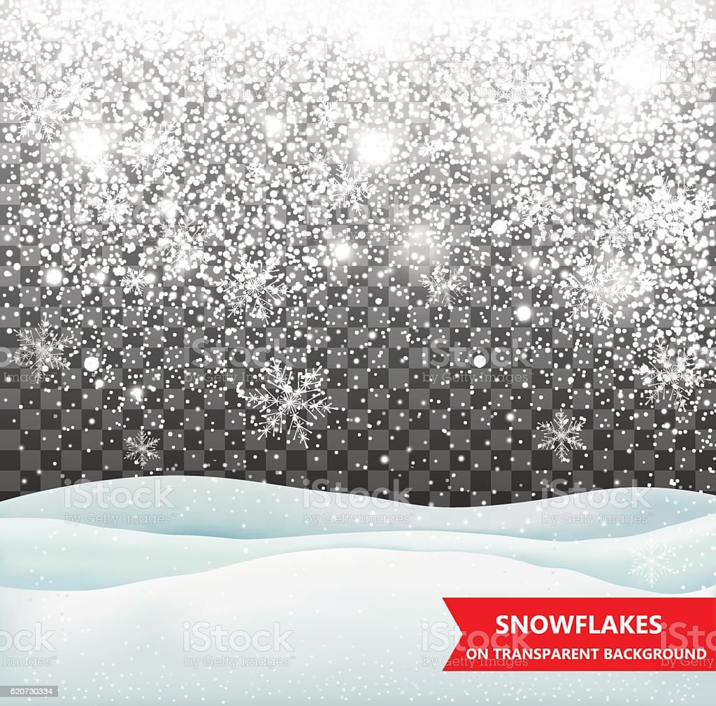 The falling snow and drifts on a transparent background vector art illustration