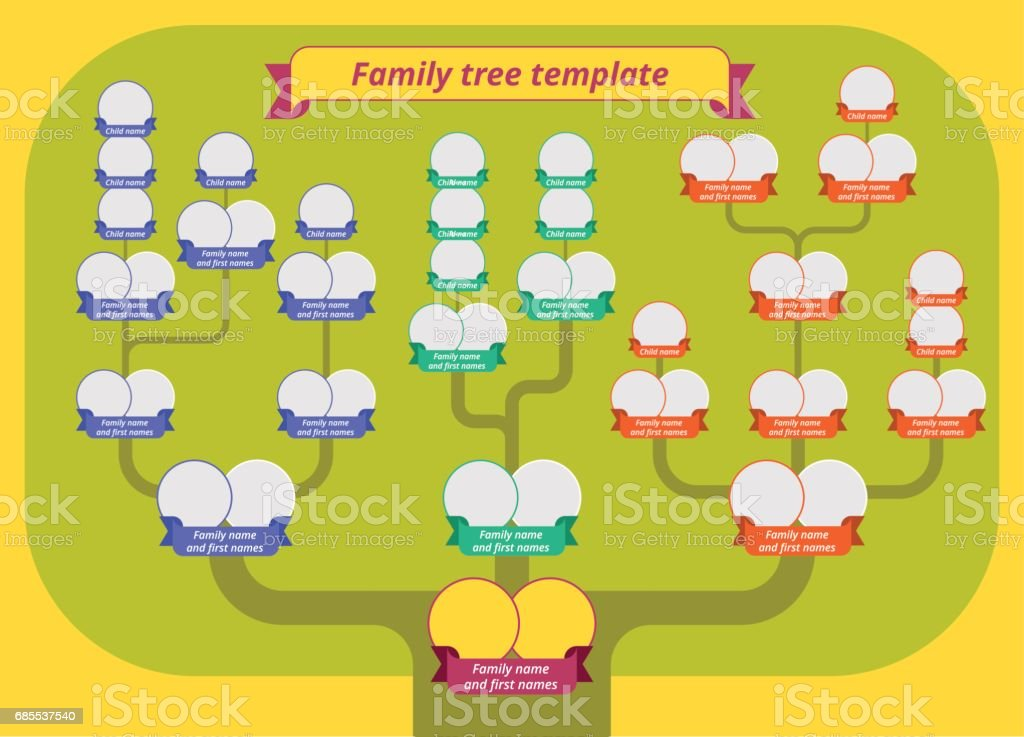 The Family tree and genealogy table. Flat vector concept illustration. vector art illustration