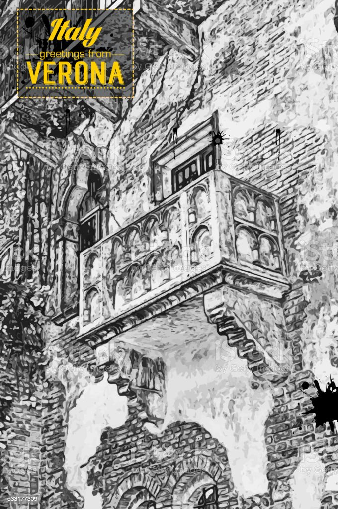 The famous balcony of Romeo and Juliet vector art illustration