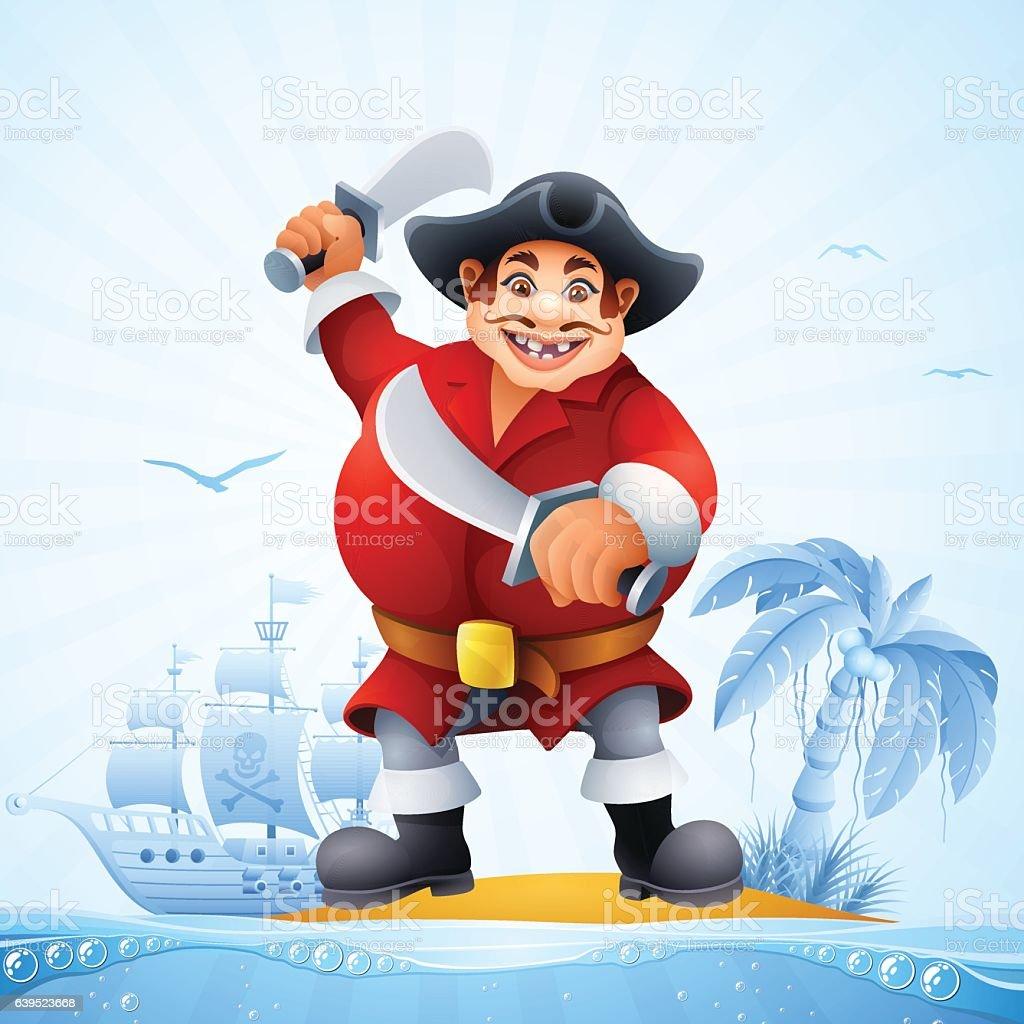 The Fat Pirate vector art illustration