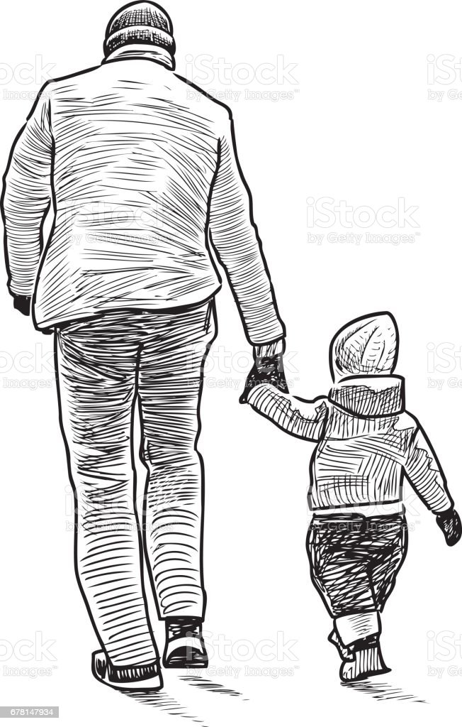 The father with the kid on walk vector art illustration