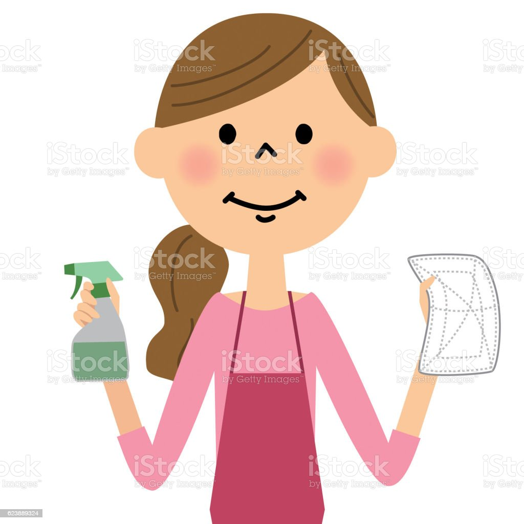 The female of the apron who cleans vector art illustration