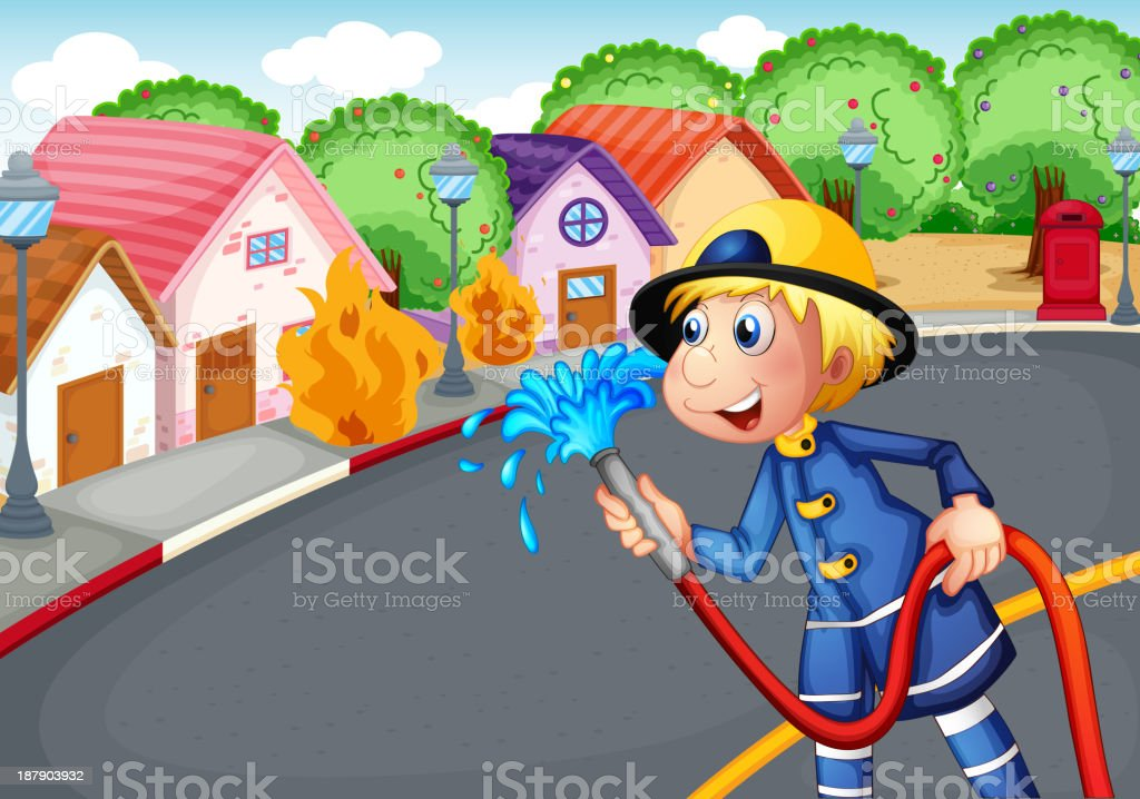 The fireman holding hose rescuing a village on fire royalty-free stock vector art