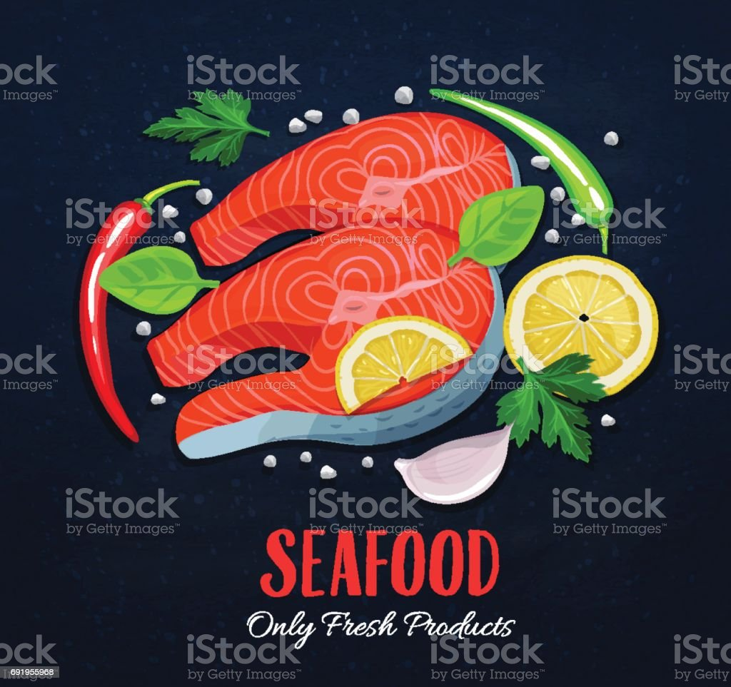 The fish steaks with vegetables vector art illustration