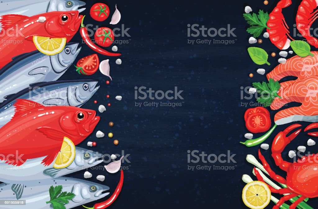 The fishes and seafood vector art illustration