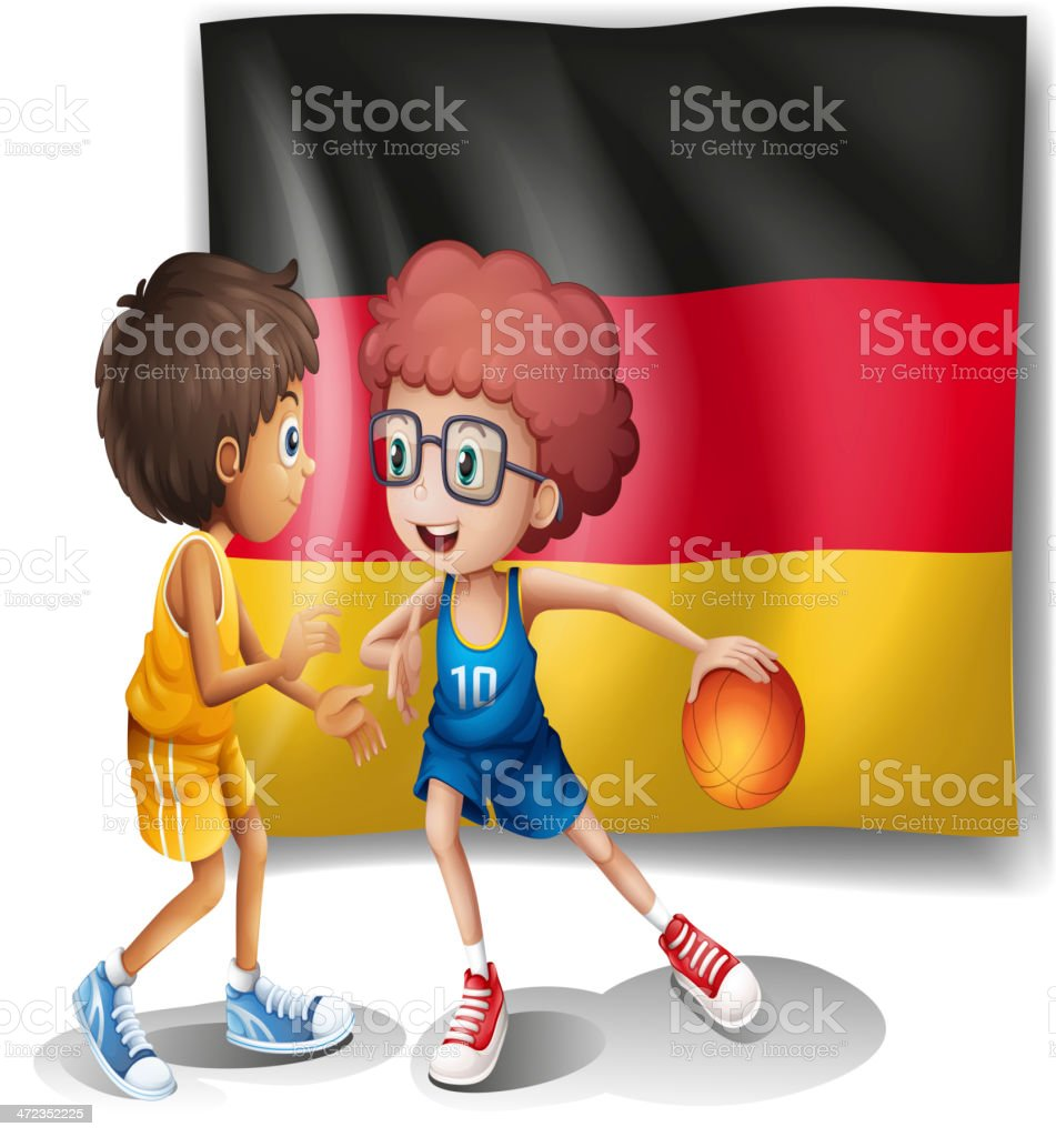 The flag of Germany with  two athletes royalty-free stock vector art