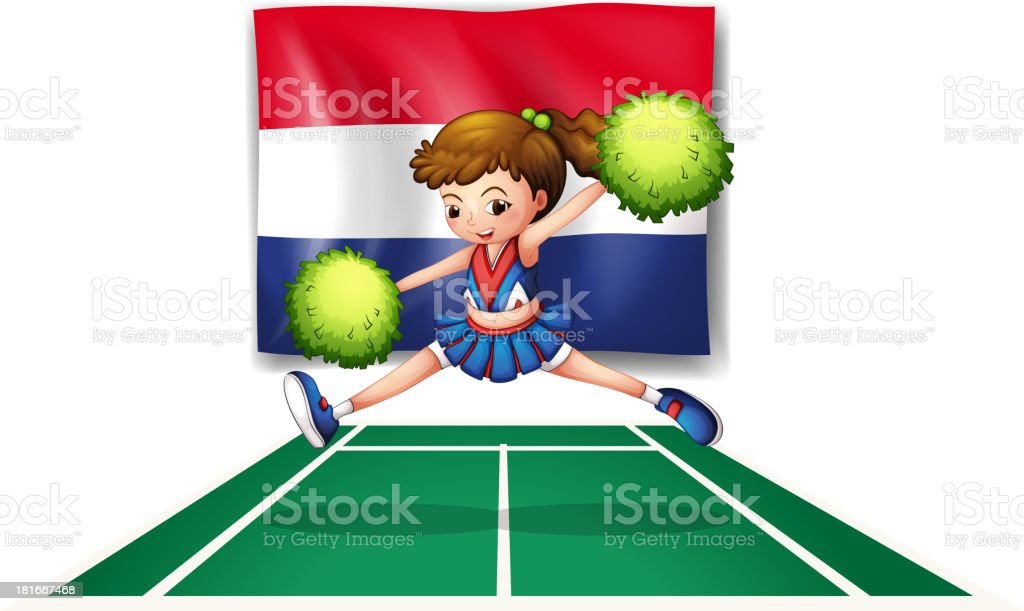 The flag of Netherlands and young cheerdancer royalty-free stock vector art