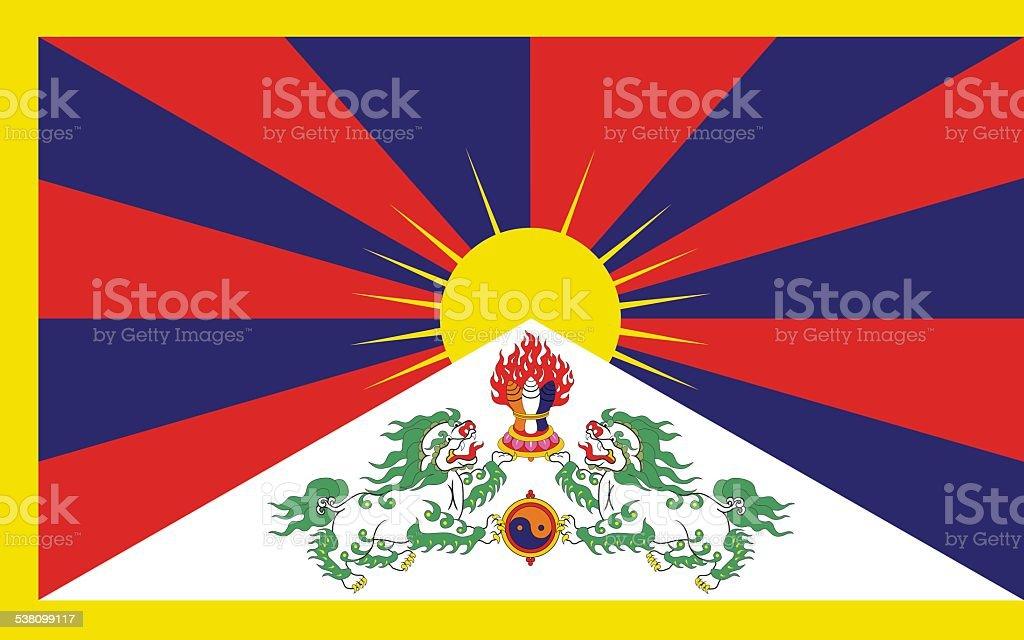The flag of Tibet vector art illustration