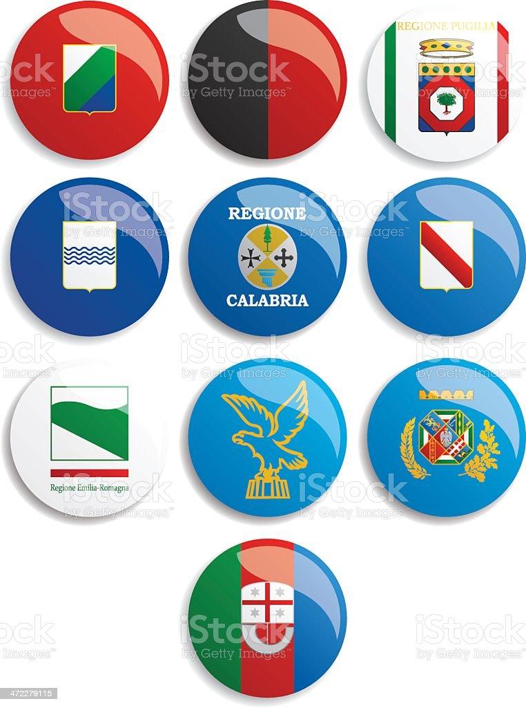 The flags of Italian regions (Le bandiere delle regioni italiane) vector art illustration
