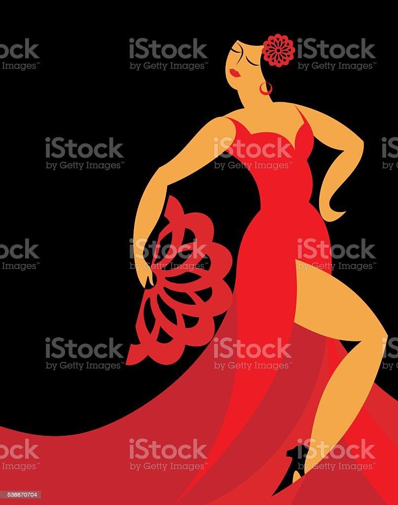 the flamenco dancer vector art illustration