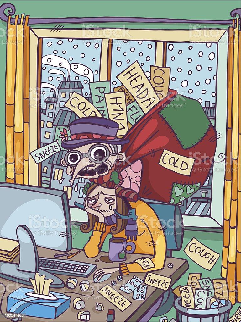 The flu strikes again!! vector art illustration