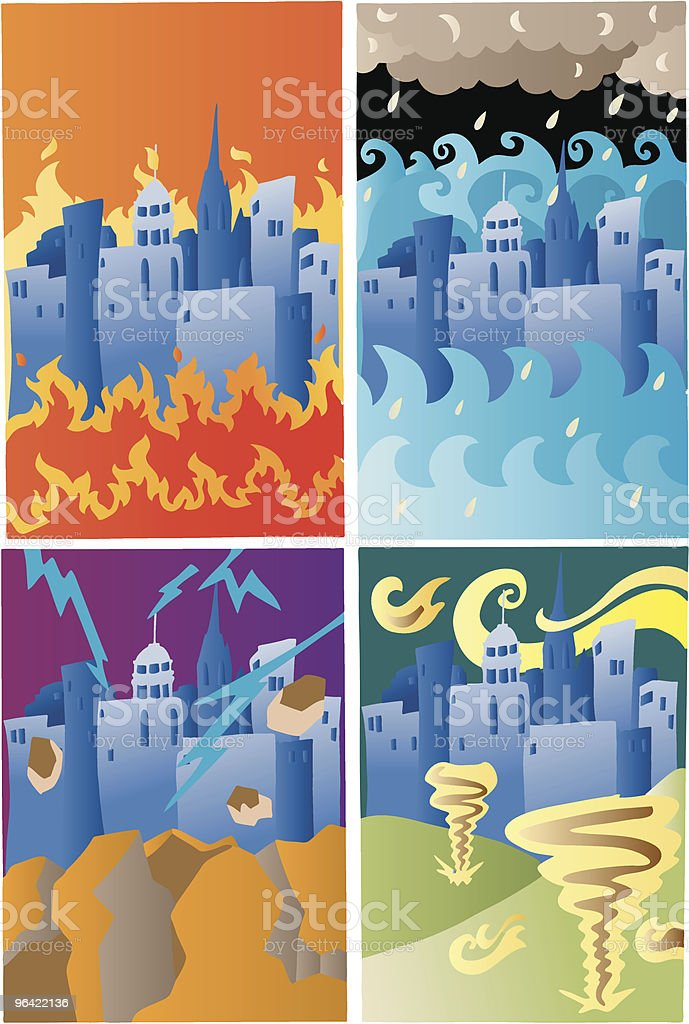 The Four Disasters (Vector) royalty-free stock vector art