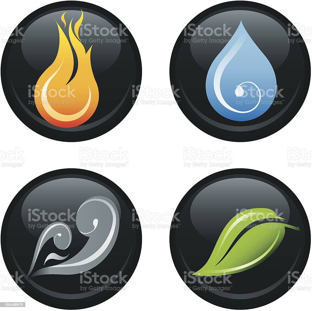 The Four Elements on Black royalty-free stock vector art