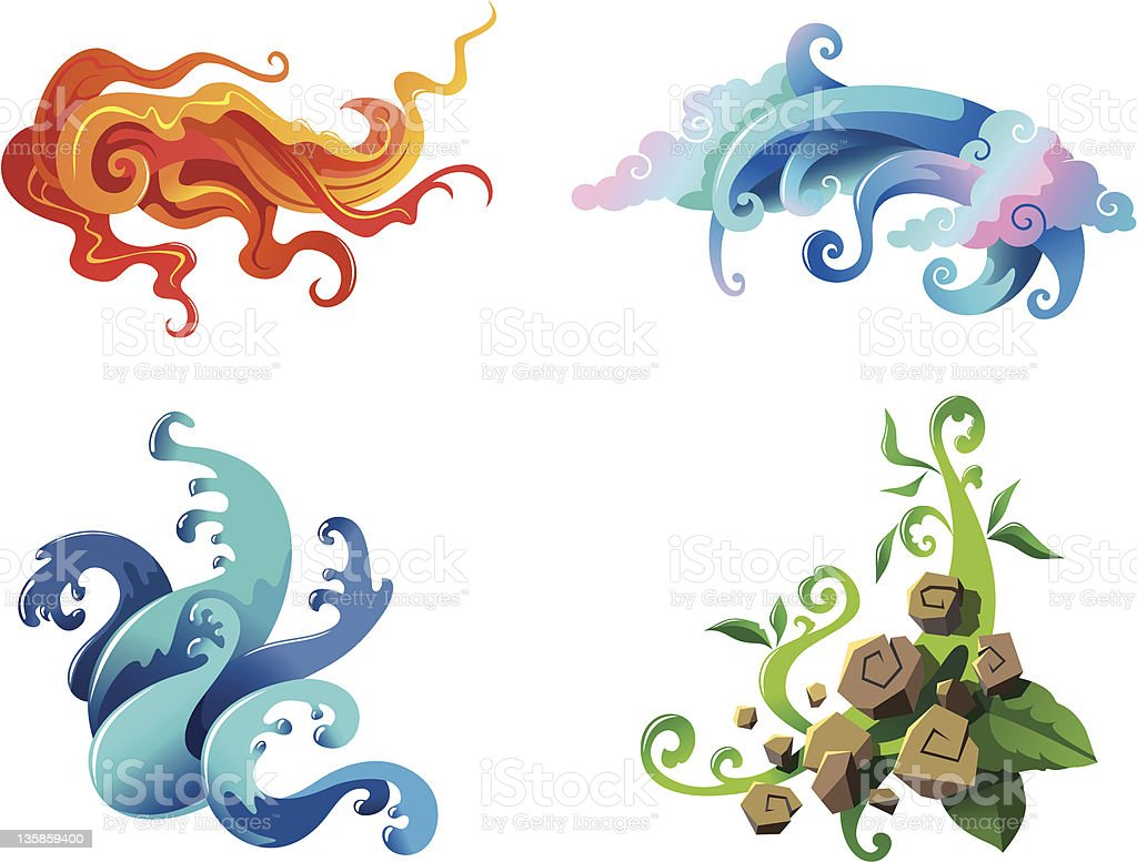 The Four Elements royalty-free stock vector art
