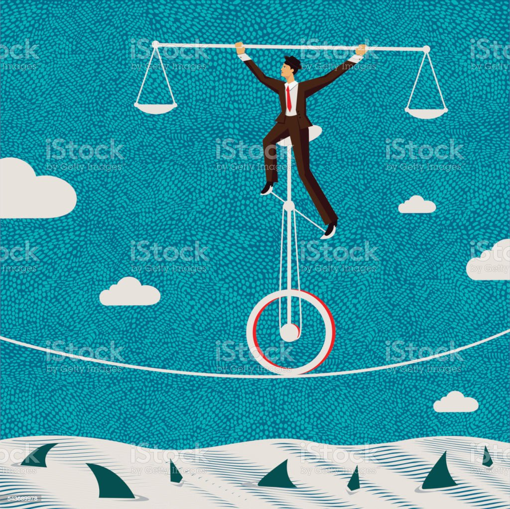 The fragile balance of business vector art illustration