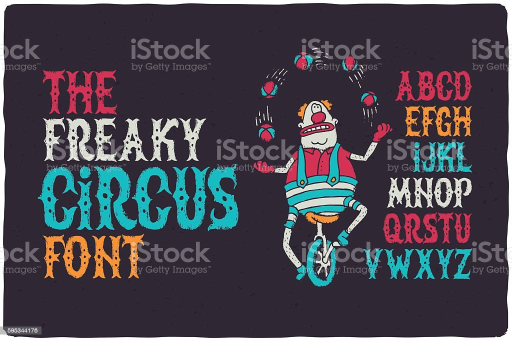 The freaky circus font vector art illustration