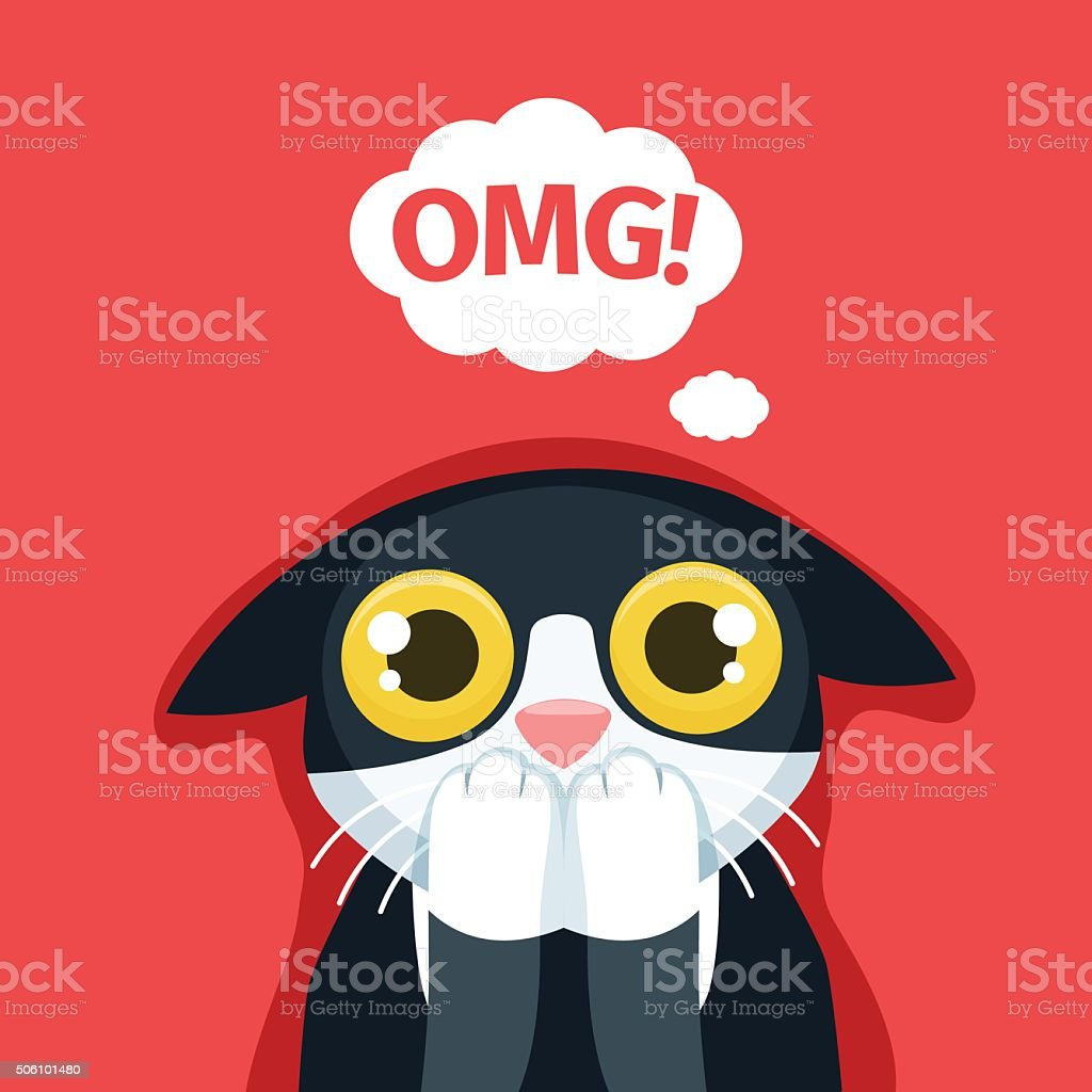 The frightened cat thinks Oh my God. vector art illustration