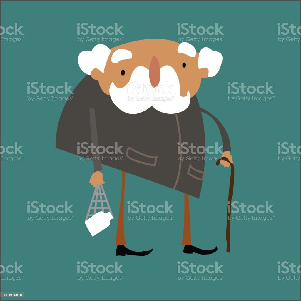 The funny old man. vector art illustration