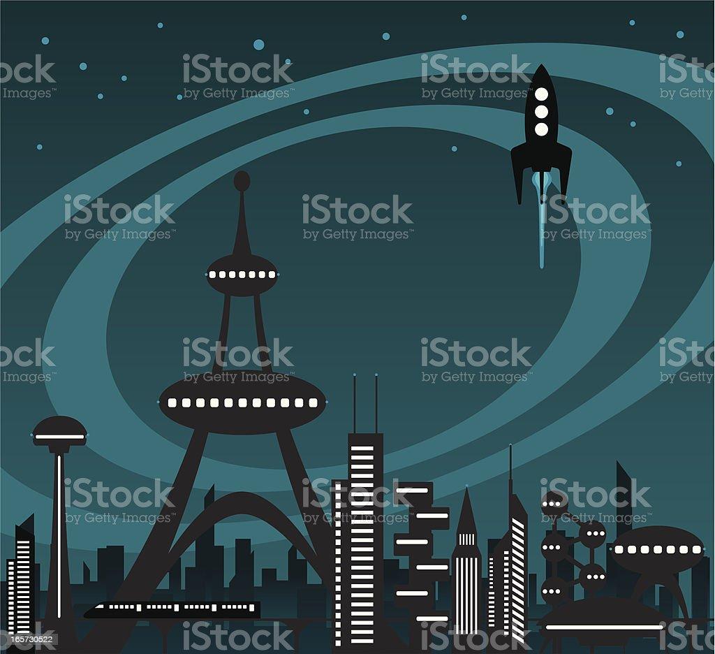 The Future City Skyline vector art illustration