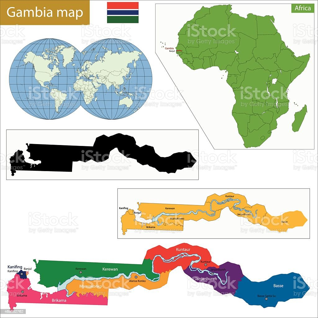 The Gambia map vector art illustration