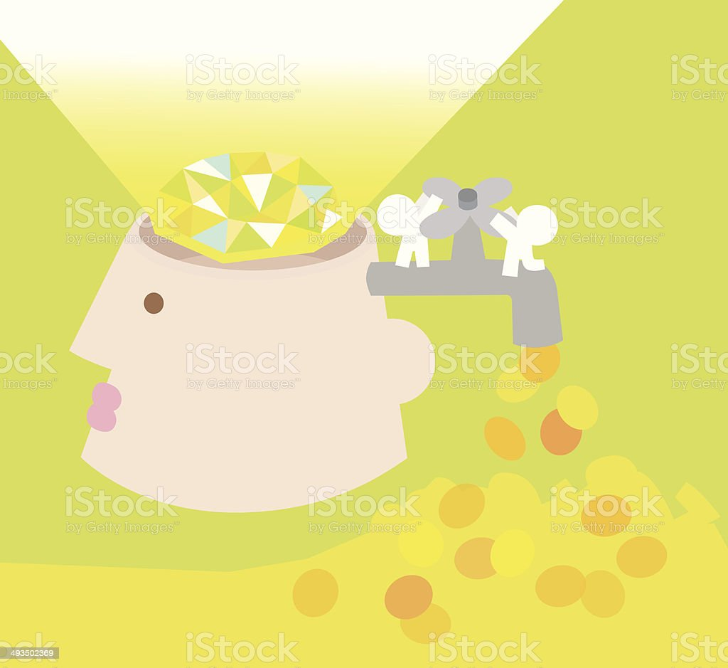 the gem in brain vector art illustration