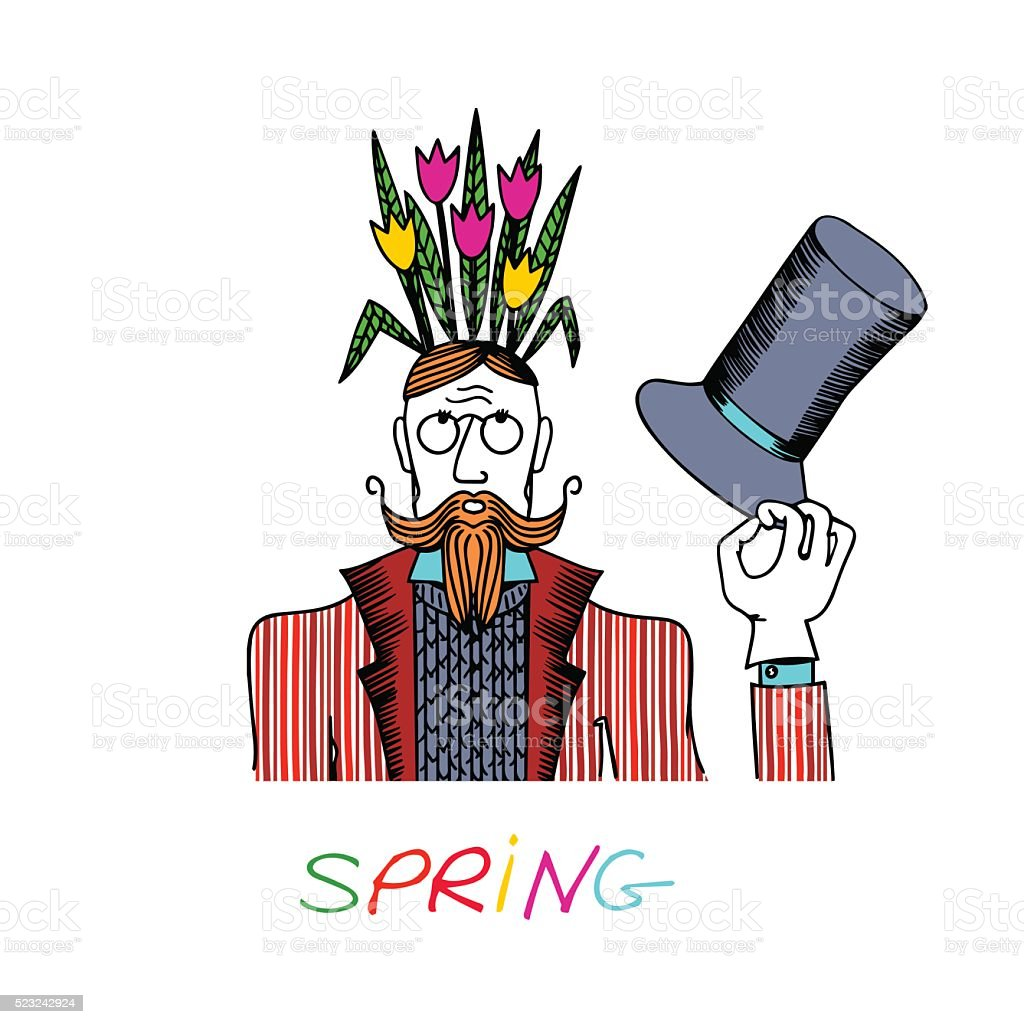 The gentleman in a frock coat shoots cylinder. vector art illustration