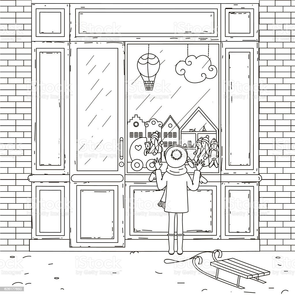The girl at the window of the store. vector art illustration