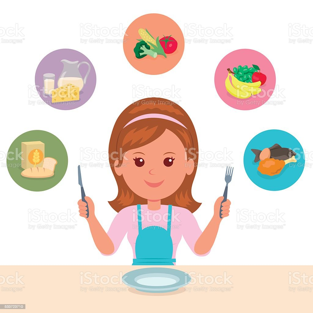 The girl chooses what she eat of the food groups. vector art illustration