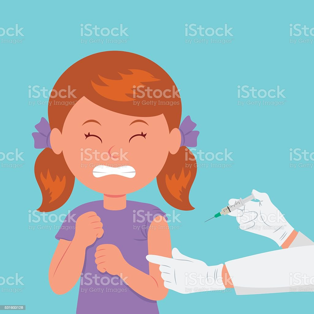 The girl frowned at the sight of a syringe. vector art illustration