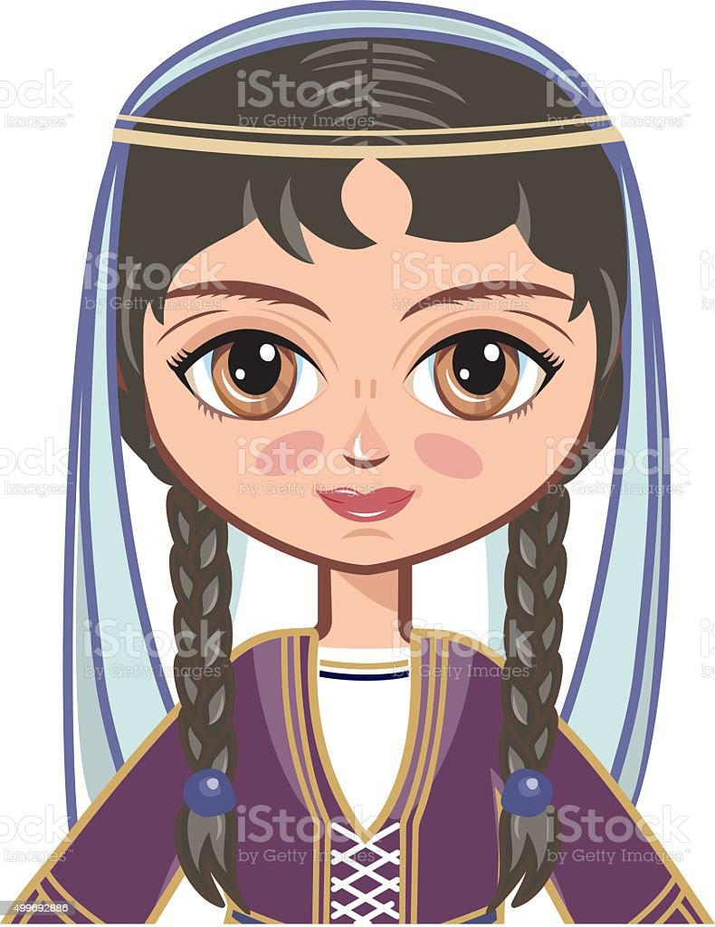 The girl in  Georgian dress. Historical clothes. vector art illustration