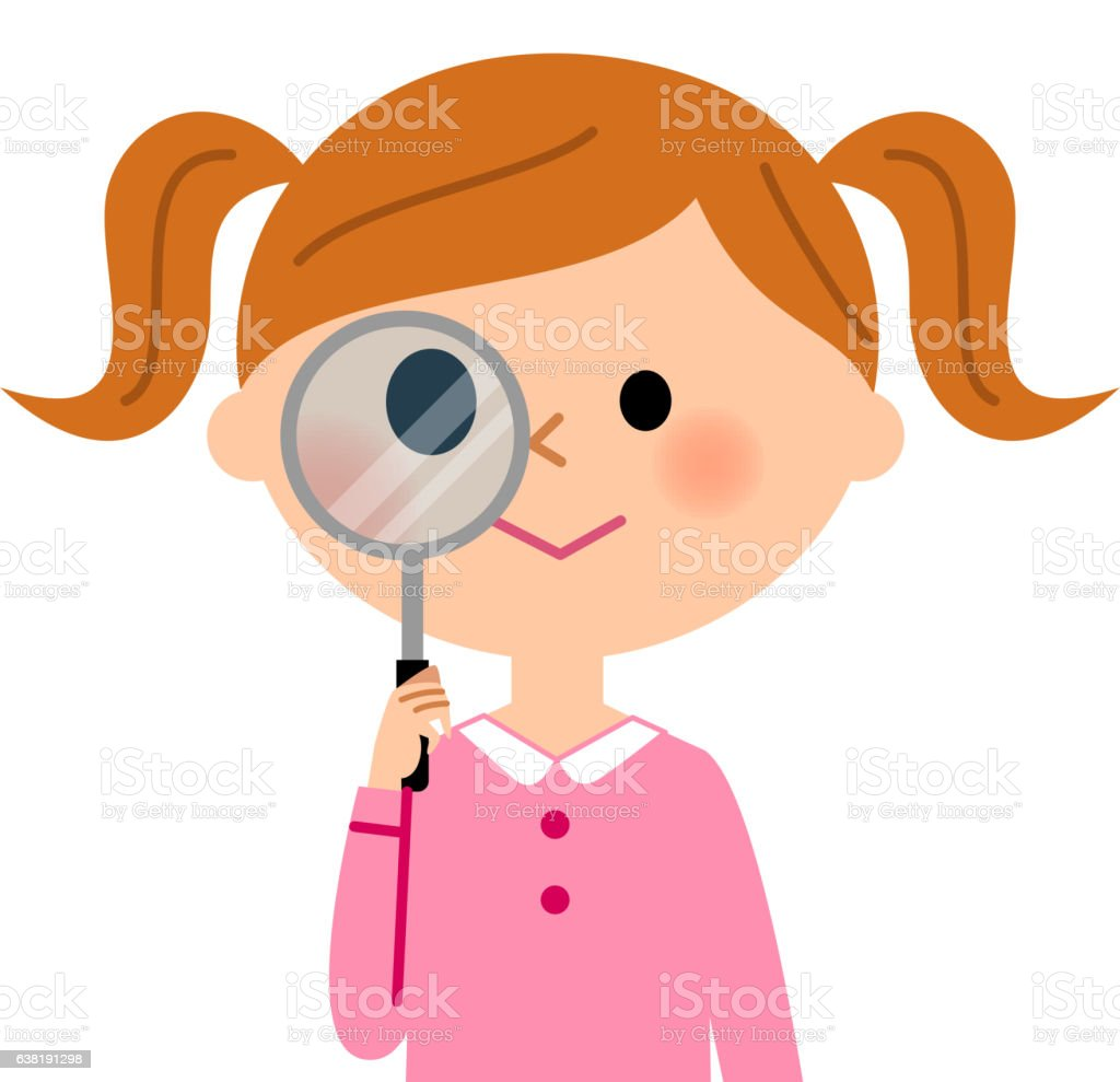 The girl who looks stealthily at a magnifying glass vector art illustration