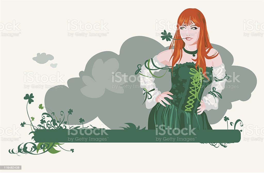The girl with four-leafs clover royalty-free stock vector art