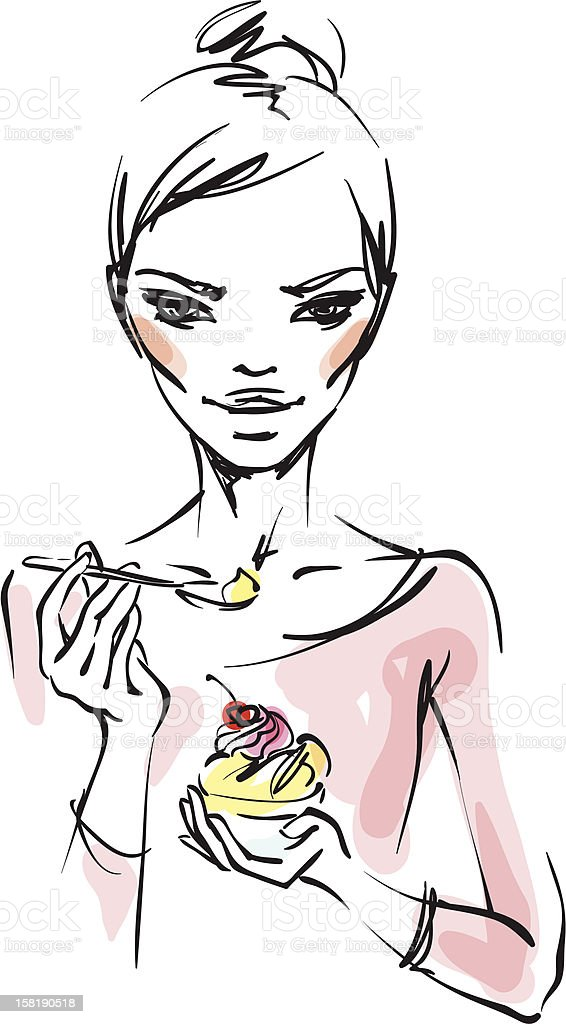 The girl with ice cream royalty-free stock vector art