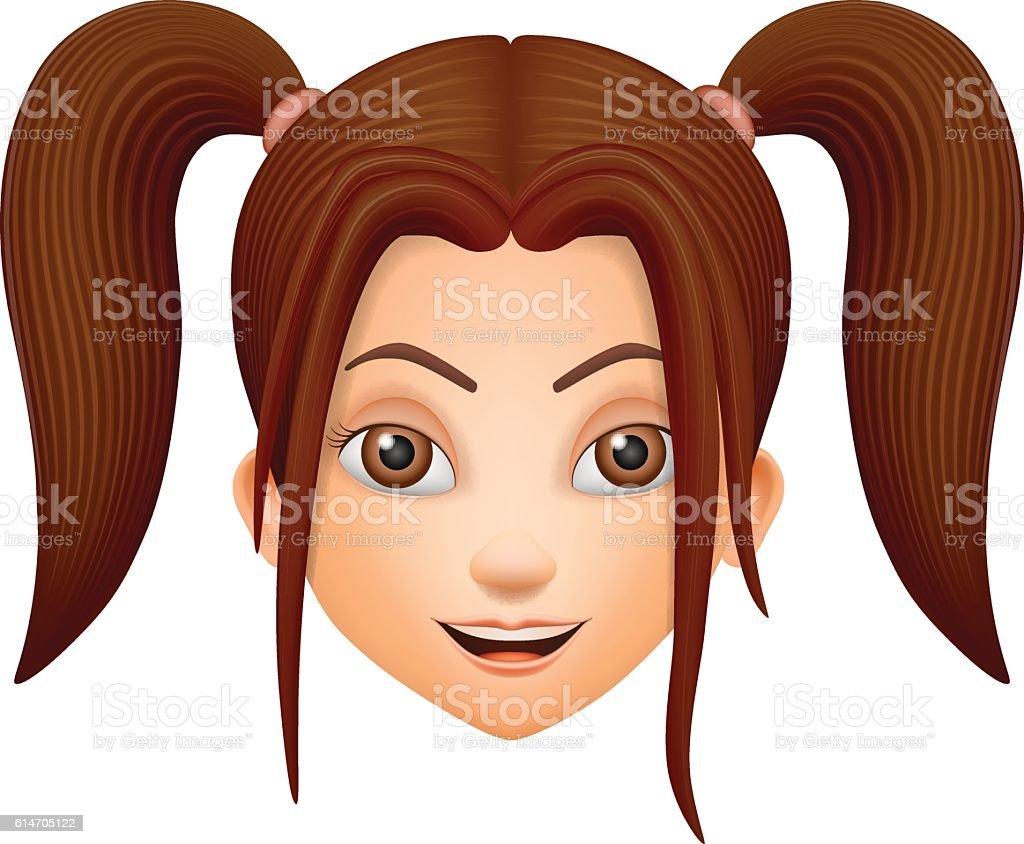 The girls face brunette vector art illustration