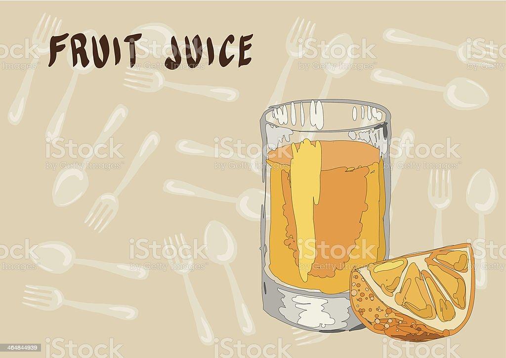 The glass of fresh orange juice and orange slice royalty-free stock vector art