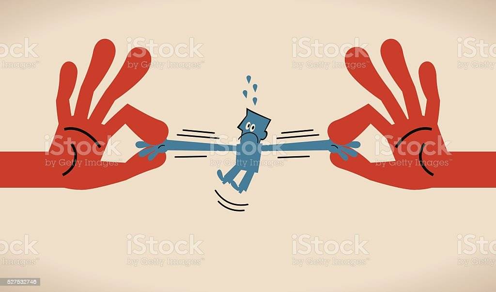 The global competition (war) for talent, two hands pulling businessman vector art illustration